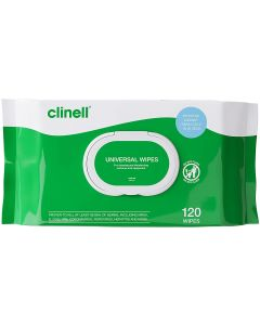 CLINELL BCW120 UNIVERSAL HAND &  SURFACE THICK 60GSM 26X18CM 120 WIPES
