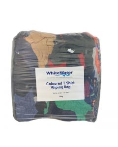 BUY 2 GET 1 FREE - COLOURED T SHIRT WIPING RAGS - BAGGED 10KG