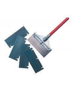 LONG BLUE HANDLED FLOOR SCRAPER COMPLETE FOR STONE/CERAMIC