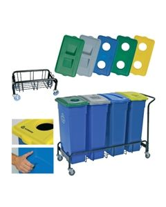 RECYCLE BIN LID WITH SLOT FOR PAPER BLUE
