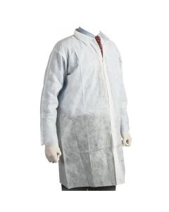 NON-WOVEN BARRIER PROTECTION COATS WHITE  50 PACK