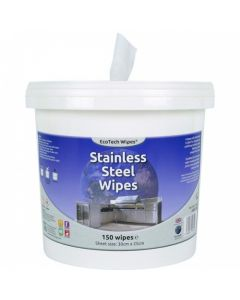 ECOTECH STAINLESS STEEL WIPES 30 X 25CM 150 SHEETS