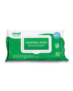CLINELL CW40 UNIVERSAL HAND & SURFACE WIPES - 24 CASE - £1.53+VAT EACH